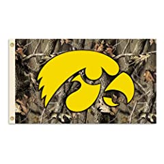 Buy NCAA Iowa Hawkeyes 3-by-5 Foot Flag with Grommets - Realtree Camo Background by BSI