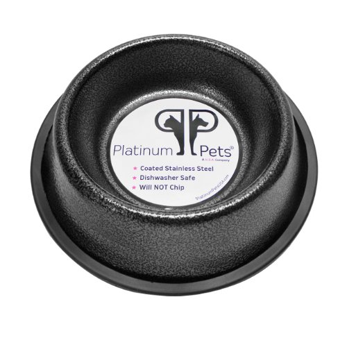 Platinum Pets 2 Cup Non-Embossed Non-Tip Dog Bowl, Silver Vein