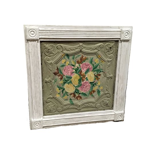 framed-antiqued-ceiling-tile-tin-with-hand-painted-flowers-art-wall-art-wall-hanging-flower-art-rust