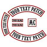 6 Pack Custom Embroidered MC/RC Biker Patches Nametapes, Personalized Embroidery Rocker Patch Rider Motorcycle Patches Back Name Tags Collars Patch Appliqued/Iron-on/Sew-on Veterans Vest or Jacket (Color: White Fabric+Black Text+Red Border)