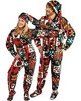 Ugly Christmas Sweater Fleece Drop Seat Footed Pajamas with Long Night Cap