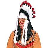 Indianer Kopfschmuck Federn Federschmuck Federkopfschmuck Haarschmuck Indianerschmuck schwarz weiss Häuptlingsschmuck Kostüm Zubehör