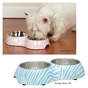 Pet Studio ZW1304 12 19 Sweet Safari Melamine Diner Bowl, 6-Ounce, Powder Blue