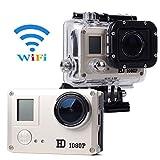 XCSOURCE® Full HD WiFi 14MP 1080p Fotocamera de Acción Cámara Action Camera Impermeabile de Bicicleta Casco Vídeo de Doporte + 3 Batería + Accesorios Kit LF606