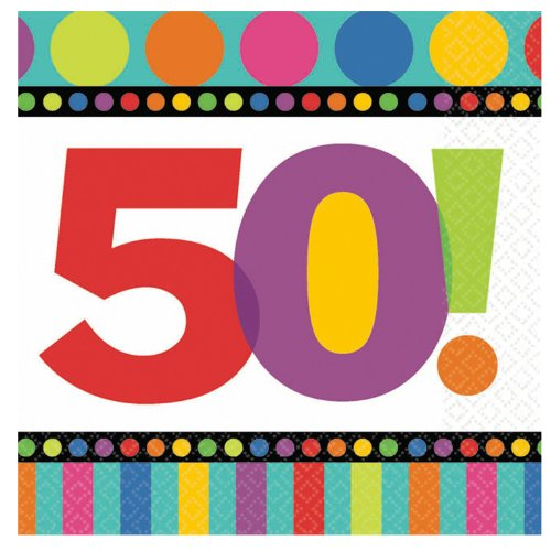 50th Birthday Dots and Stripes Beverage Napkins 16 count Birthday Party Supply