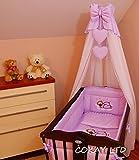 10pcs para cuna juego de cama/Bumper/hoja/Edredón/cubierta/libre de pie cubierta Holder-Purple (corazón)