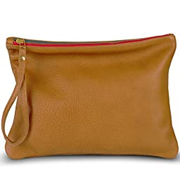 Leah Lerner Women Leather Clutch Brown