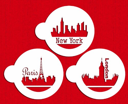Designer Stencils C716 Paris, London and New York Skylines Cookie Stencils, Beige/Semi-Transparent
