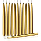 """Dripless Taper Candles 10"""" Inch Tall Wedding Dinner Candle Set Of 12 (Gold)"""