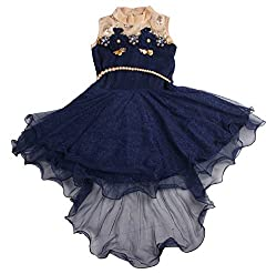 Snowberry Girls' Frock (C 957, Beige and Blue, 4-5 Years)