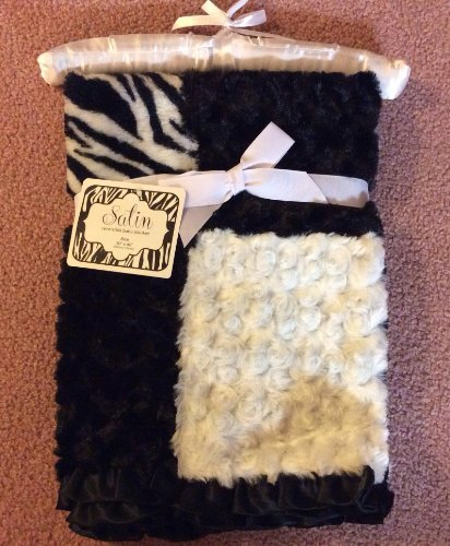 "Satin ""Zebra, Black, White"" Reversible Baby Blanket - 1"