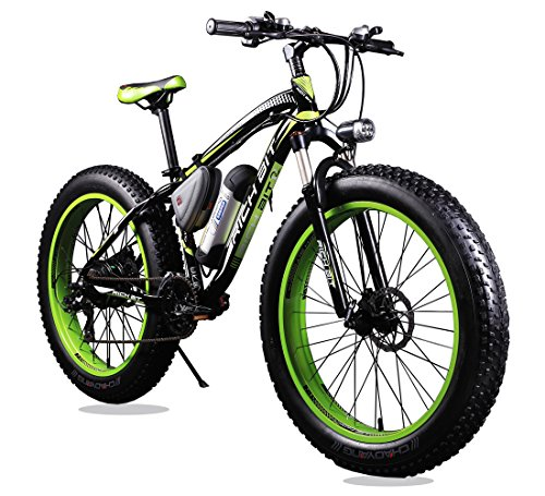 """Richbit, RT-012, Bicicletta elettrica da uomo, colore verde/nero, con cambio Shimano a 21 Velocità, Forcella di sospensione 10,16 cm (4,0"""") Fat Tire"""