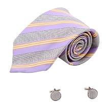 Purple Orange Striped Tie Christmas Gift Ideas Handmade Silk Ties Cufflinks Set 1112