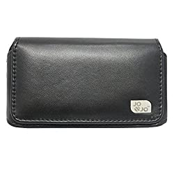 Jo Jo A4 Plain Belt Case Mobile Leather Carry Pouch Holder Cover Clip For Samsung Galaxy On5 Black