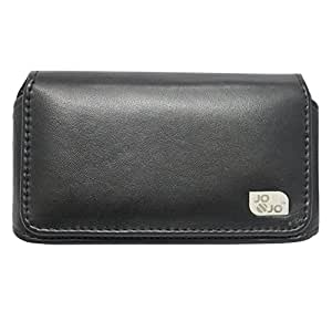 Jo Jo A4 Plain Belt Case Mobile Leather Carry Pouch Holder Cover Clip For Intex Cloud V Black