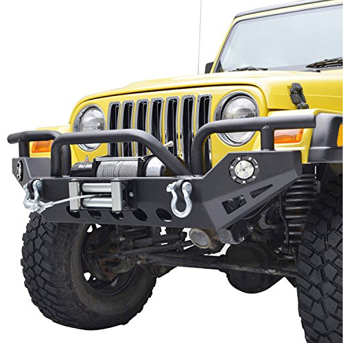 E-Autogrilles YJ TJ Jeep Wrangler Xtreme Front Bumper with LED Lights and Winch Plate