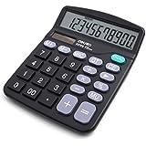 Aisa® Large Display Standard Desktop Calculator Economical Dual Solar/battery-powered Color Black