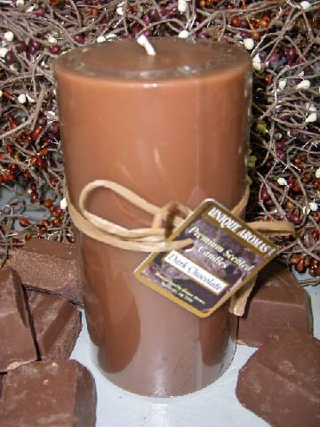 Dark Chocolate - Round Scented Pillar Candle - 23 Ounce
