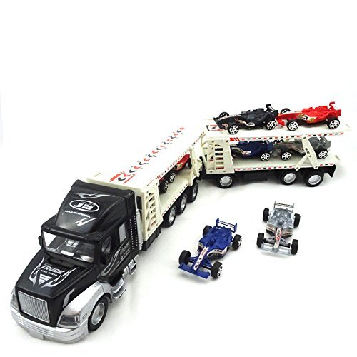 Semi Truck Toy With Trailer Towing Eight Forumula 1 Race Cars, Friction Powered 18 Wheeler Toy Truck For Kids (Semi Trucks Rc compare prices)
