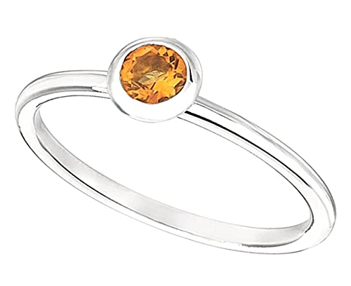 0.24 carat Round citrine bezel set wedding anniversary ring gold white