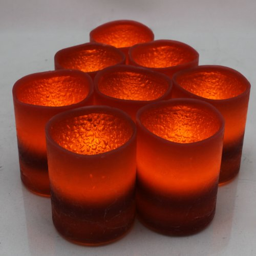 Set of 12 Everlasting Glow LED Wax Battery Pillar Candle, Burgundy, Pomegranate Scent, 2