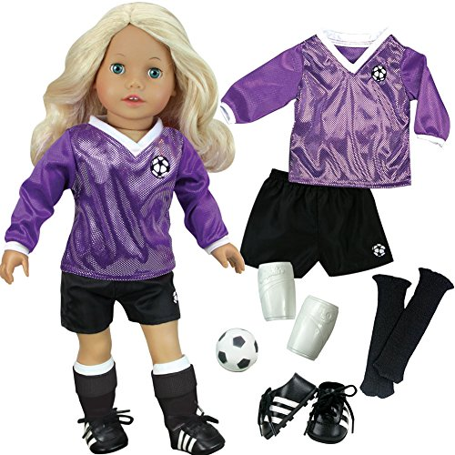 sophias-doll-clothes-for-18-inch-doll-soccer-outfit-ball-black-socks-cleats-complete-18-inch-doll-sp