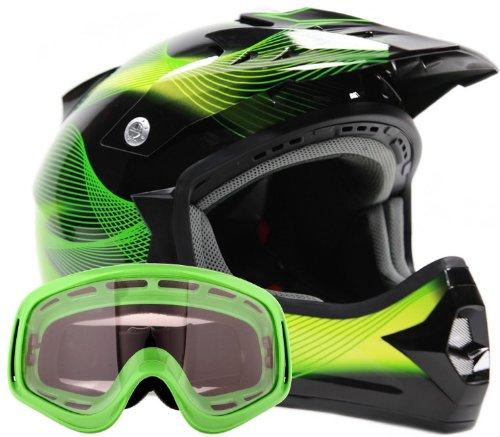 Adult Offroad Helmet & Goggles Gear Combo DOT