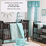 Teal-Blue-Diamond-Tile-Print-Cotton-Padded-Crib-Rail-Guard-by-The-Peanut-Shell