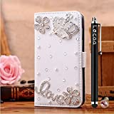 Locaa(TM) For LG Optimus L50 LGL50 3D Bling Case + Phone stylus + Anti-dust ear plug Deluxe Luxury Crystal Pearl Diamond Rhinestone eye-catching Beautiful Leather Retro Support bumper Cover Card Holder Wallet Cases - [General series] crown2