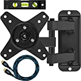 """Cheetah Mounts ALAMB TV Monitor Wall Mount, for 12 to 24"""" Displays up to 40 Lbs, Includes a Twisted Veins 10 Foot HDMI cable and a 6"""" Magnetic Bubble Level"""