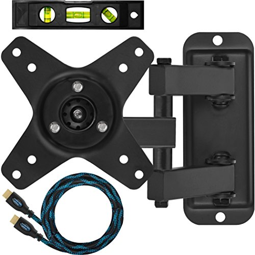 Cheetah Mounts ALAMB Articulating Monitor and TV Wall Mount Bracket for VESA 100 12-24″ LCD LED Flat Screen Displays up to 40lbs. Includes a Twisted Veins 10′ Braided High Speed with Ethernet HDMI Cable and One 6″ 3-Axis Magnetic Bubble Level