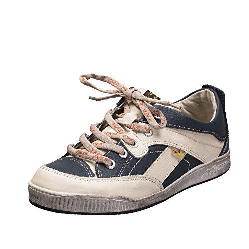 TMA EYES 4199 Herrenschuh Schnürer Gr.41-46 mit bequemen perforiertem Fußbett , Leder super leichter Schuh der neuen Saison. ATMUNGSAKTIV in Weiss Blau