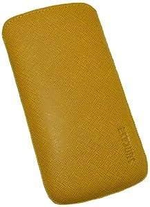 Suncase Original Echt Ledertasche mit Rückzugfunktion für Samsung Galaxy S4 i9505 vollnarbig-senf