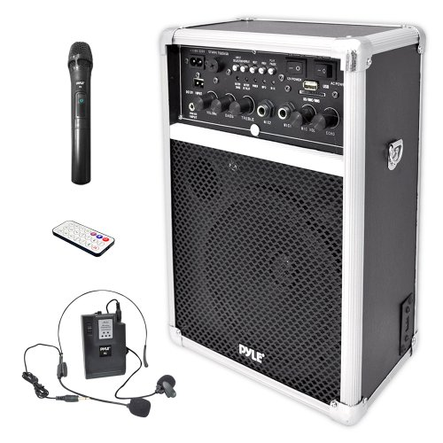Pyle PWMA170 Dual Channel 400 Watt Wireless PA System with USB/SD/MP3, 2 VHF Wireless Microphones (1 Lavalier, 1 Handheld)