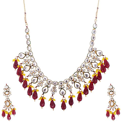 Red Kisan Jewellers Gold Plated Chain Women Red (HSJD\/14) (Yellow)