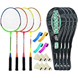 Guru PassionBR08 Series-COMBO-3 Badminton Racquets Set Pack Of Four With Four Cover Six Shuttlecock & Four Hand...