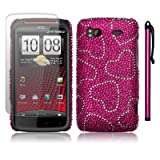HTC SENSATION XE LOVE HEARTS DESIGN DIAMANTE CASE / COVER / SHELL / SHIELD + SCREEN PROTECTOR + STYLUS PART OF THE QUBITS ACCESSORIES RANGEby Qubits