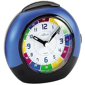*ATLANTA* - Quarz-Kinderlernwecker - Kunststoffgehäuse blau - schleichende Sekunde - Repetition - Lichtfunktion