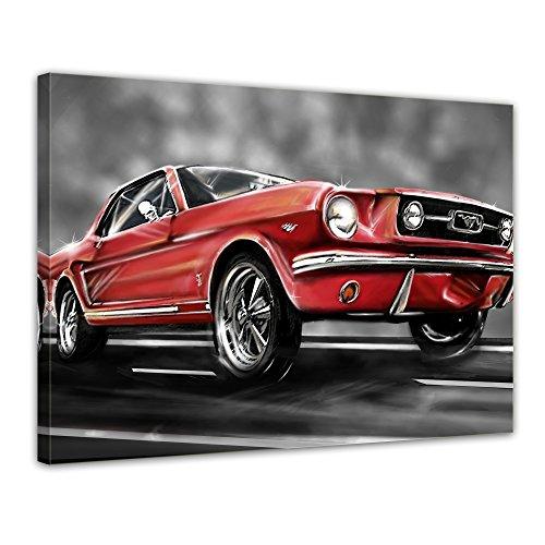 "Bilderdepot24 Leinwandbild ""Mustang Graphic"" - 70x50 cm 1 teilig - fertig gerahmt, direkt vom Hersteller"