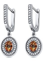 1.60 Ct Oval Ecstasy Mystic Topaz 925 Sterling Silver Dangle Earrings