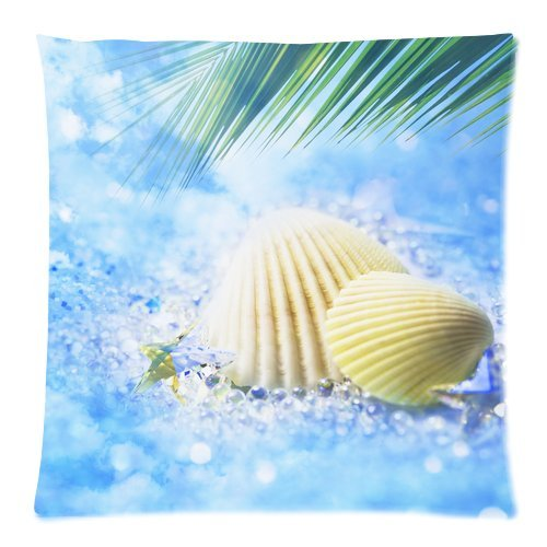 """Seashell On The Summer Beach Palm Tree Cool Blue Custom Zippered Pillow Cushion Case Throw Pillow Covers 18""""X18""""(Two Sides) front-999671"""