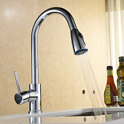 VAPSINT® Pull Out/Pull Down Kitchen Faucet,Polished Chrome