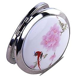 UU&T Foldable Round Mini Ceramic Makeup Cosmetic Compact Mirror Makeup Tool for Teengirls & Women (pink)