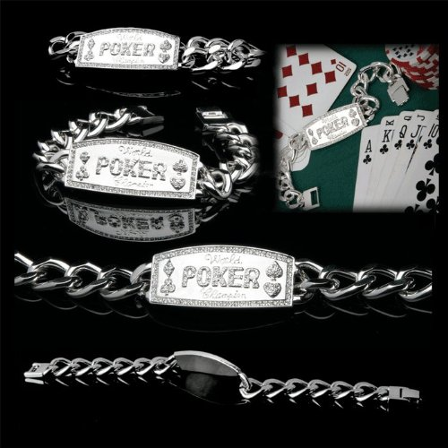 Silver Link World Poker Champion Bracelet - Casino Supplies Poker Bracelet
