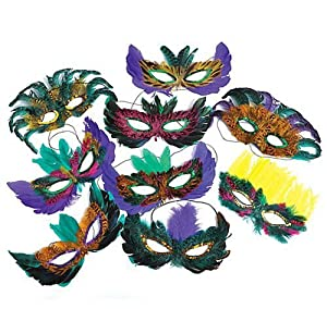 50 (Fifty) Pack of Mardi Gras Masquerade Party Feather Fantasy Masks