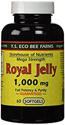 YS Eco Bee Farms Royal Jelly 1,000 mg (Mega Strength) - 60 softgels (Pack of 2)