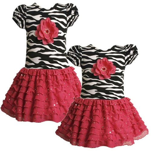 Size-3T BNJ-3569B FUCHSIA-PINK BLACK WHITE ZEBRA PRINT FOIL DOT TIERED DROP WAIST Special Occasion Girl Party Dress,B23569 Bonnie Jean TODDLERS