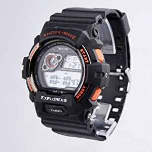 TIME100 LCD Multifunction Orange Bezel Sport Electronic Watch #W40016M.03A