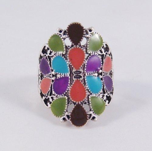 New Silver Tone Multi Colored Fashion Stretch Ring