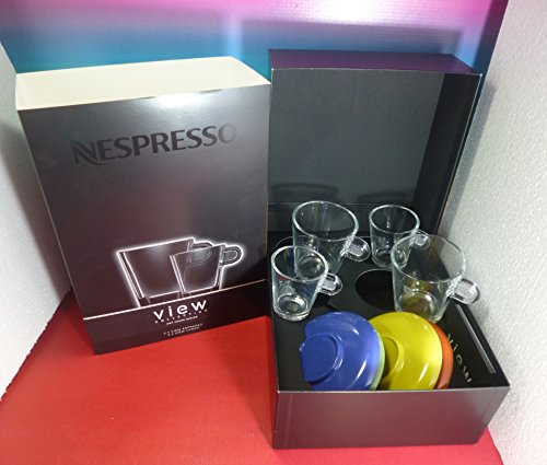 NESPRESSO VIEW 2 ESPRESSO & 2 LUNGO COFFEE GLASS CUPS & COLOUR SAUCERS A&P CAHEN DESIGN ,NEW (Nespresso Glass Espresso compare prices)